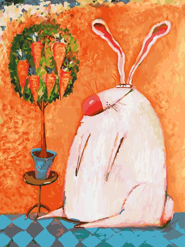 """Живопись на холсте """"Счастливый кролик"""", 30 х 40 см"""
