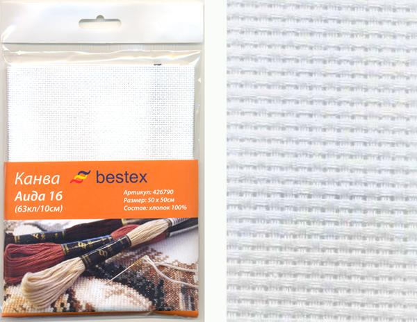 Канва для вышивания Bestex Aida 16, цвет: белый, 50 см х 50 см aida 16 594