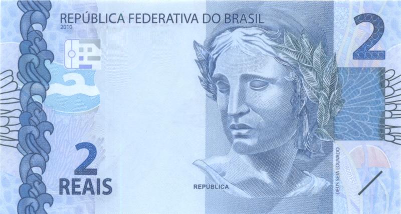Банкнота номиналом 2 реала. Бразилия. 2010 год цена