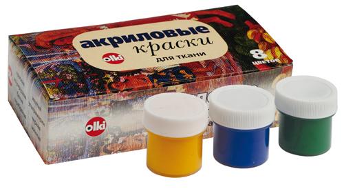 """Набор акриловых красок для ткани """"Olki"""", 8 цветов"""