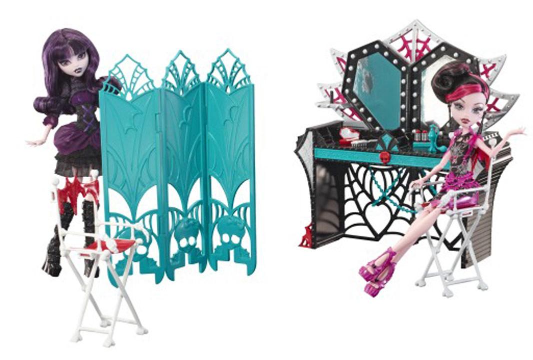 Monster High Мебель для кукол Гардеробная набор для творчества с портфолио fashion angels уроки макияжа в школе монстров