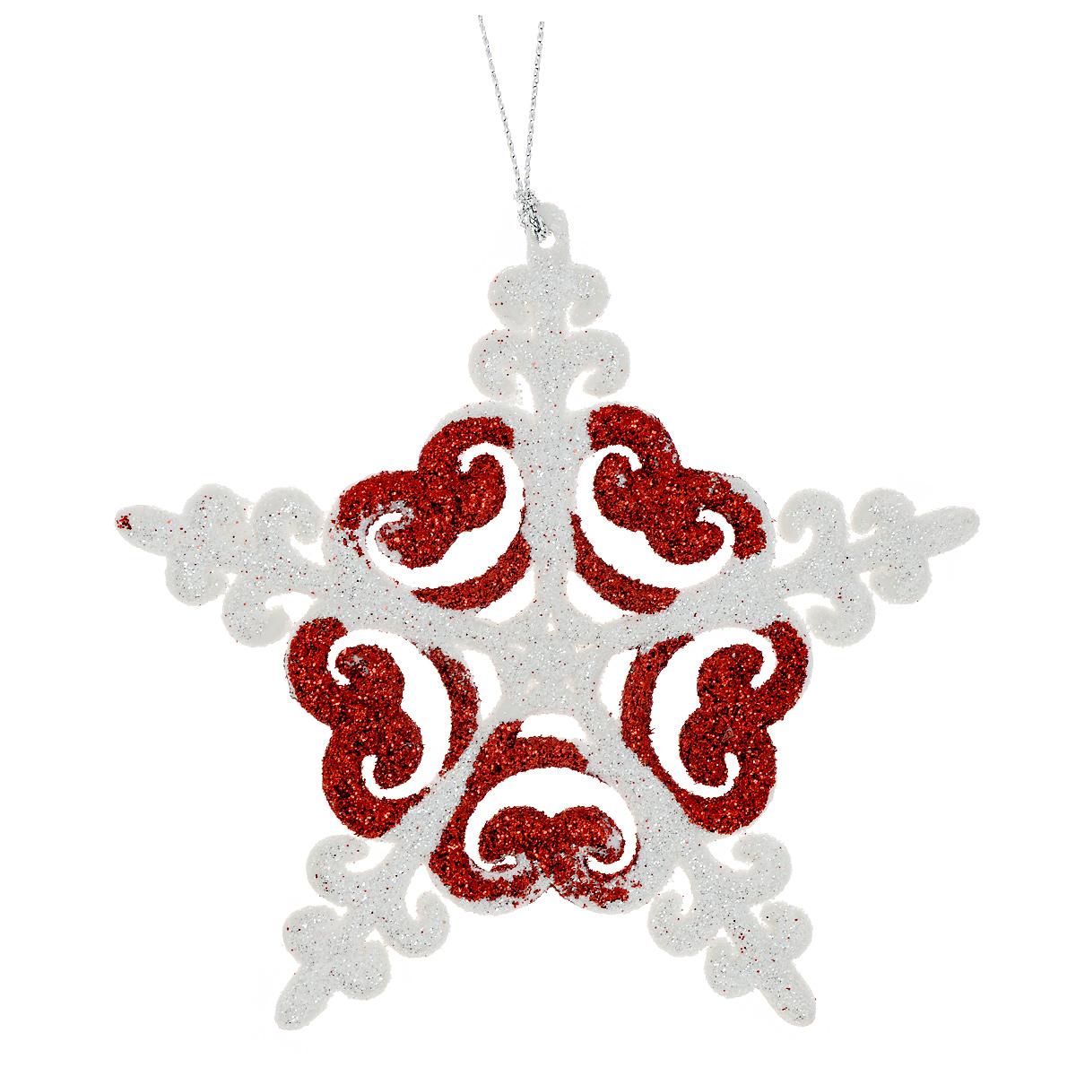 Новогоднее подвесное украшение Феникс-Презент Снежинка, цвет: красный, диаметр 12 см. 34981 украшение новогоднее подвесное феникс презент карабас барабас 3 5 x 3 5 x 8 5 см