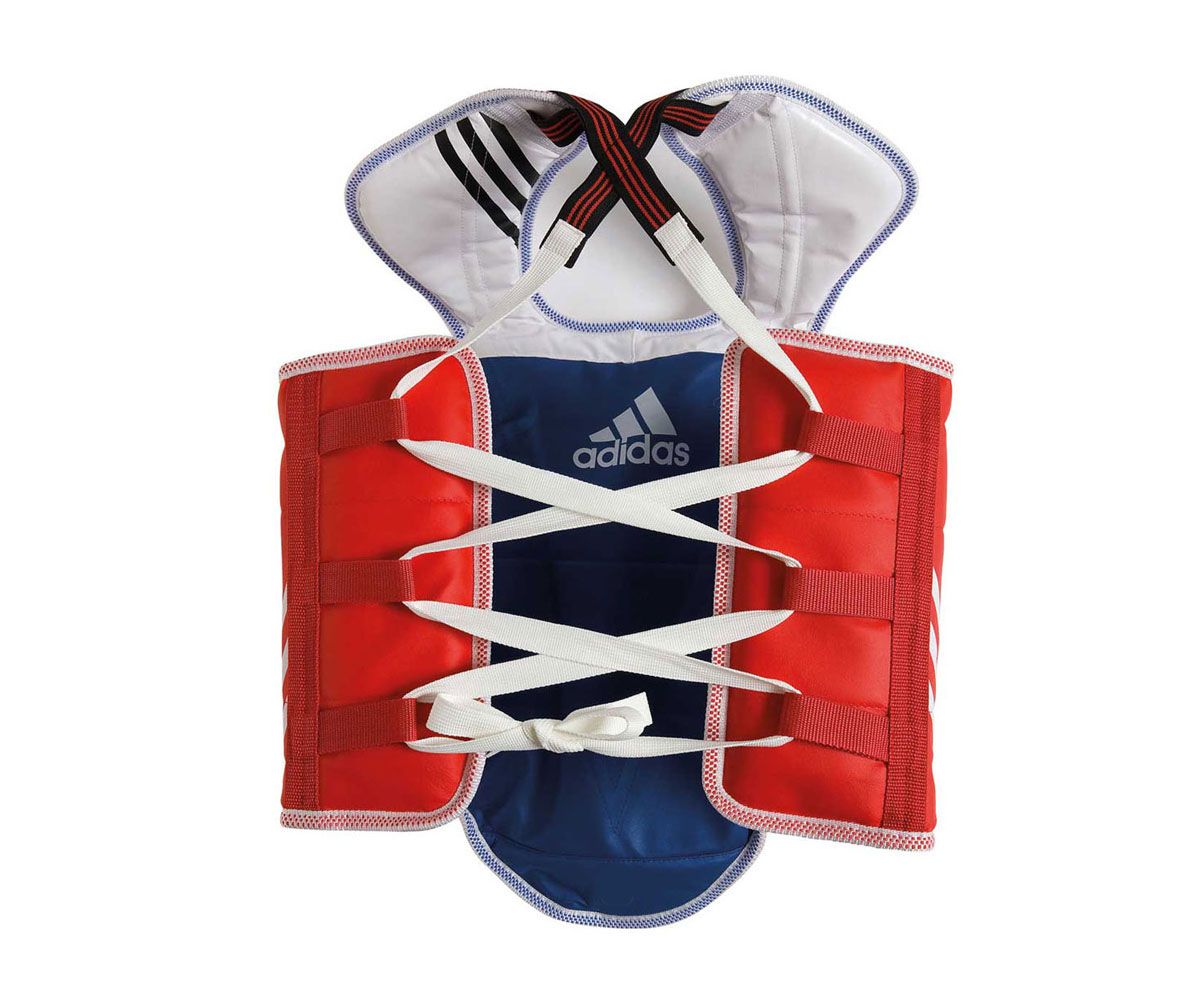 цена на Защита двухсторонняя Adidas Adult Taekwondo Body Protector Revesible WTF, цвет: сине-красный. Размер L