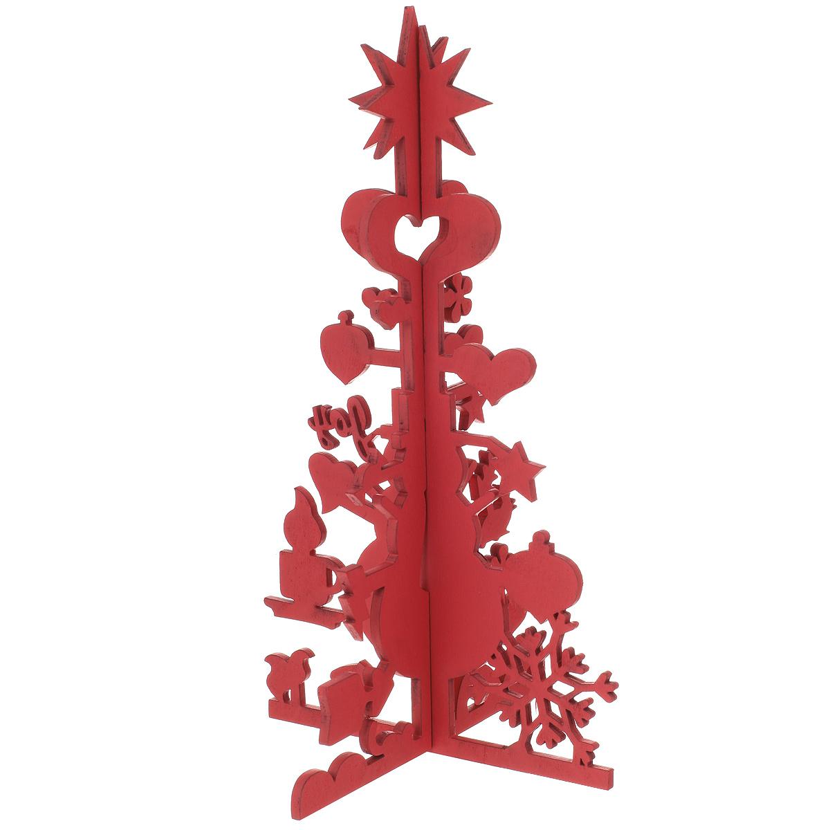 Украшение новогоднее Феникс-Презент Елочка с сердечком, цвет: красный, высота 26,5 см украшение новогоднее елочка заснеженная цвет красный 14 5 см 35691