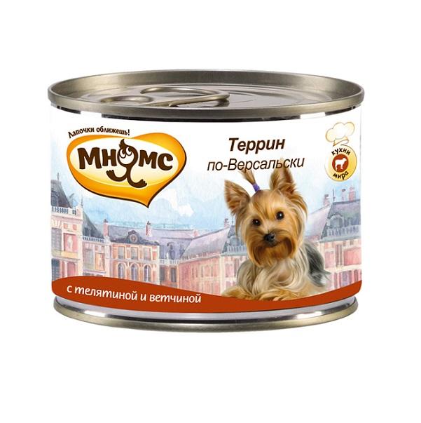 Фото - Консервы для собак Мнямс Террин по-Версальски, с телятиной и ветчиной, 200 г мнямс мнямс консервы террин по версальски телятина с ветчиной для собак 200 г х 6 шт