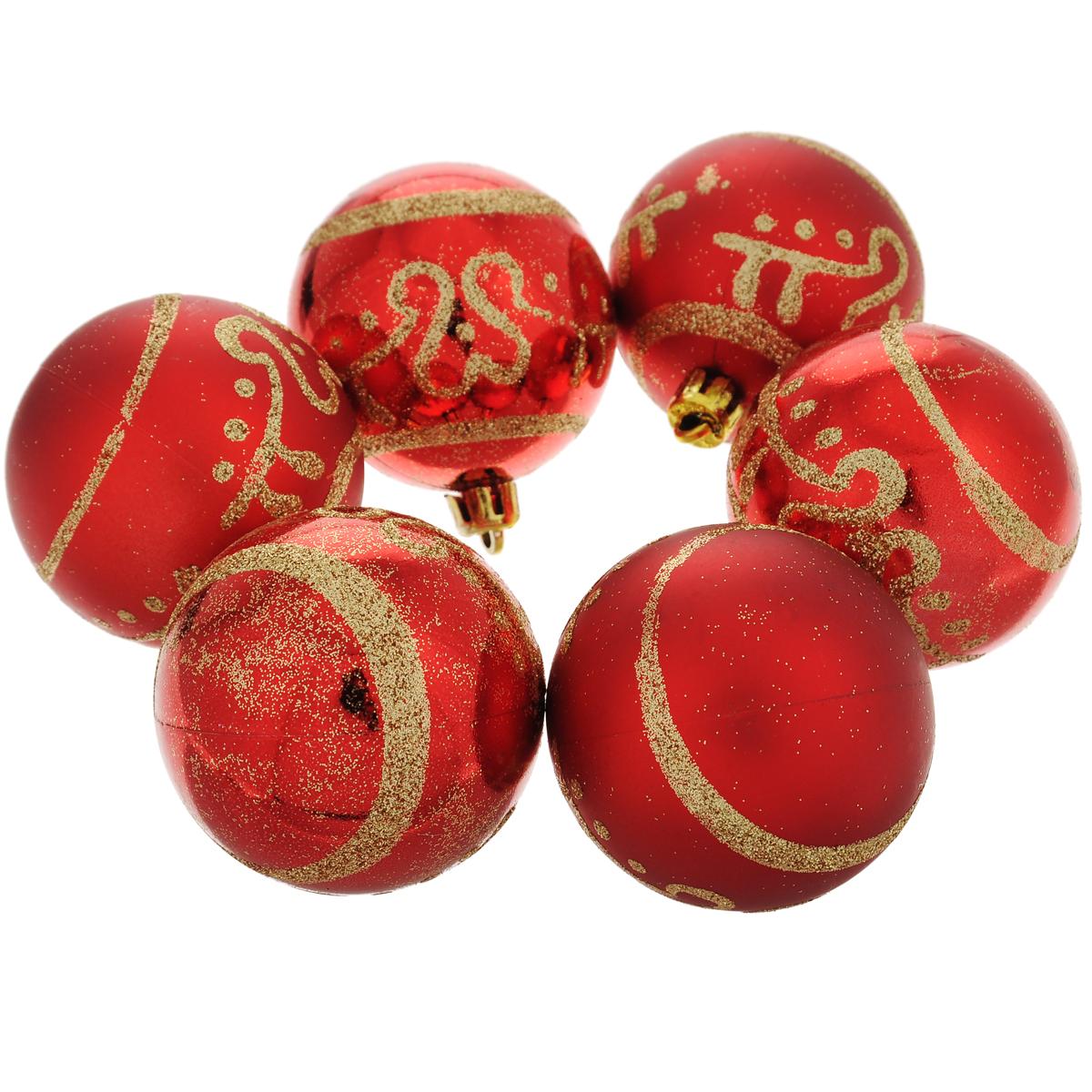 Набор новогодних подвесных украшений Шар, цвет: золотистый, красный, диаметр 6 см, 6 шт. 35494 набор подвесных новогодних украшений шары цвет золотистый красный 6 шт 26270
