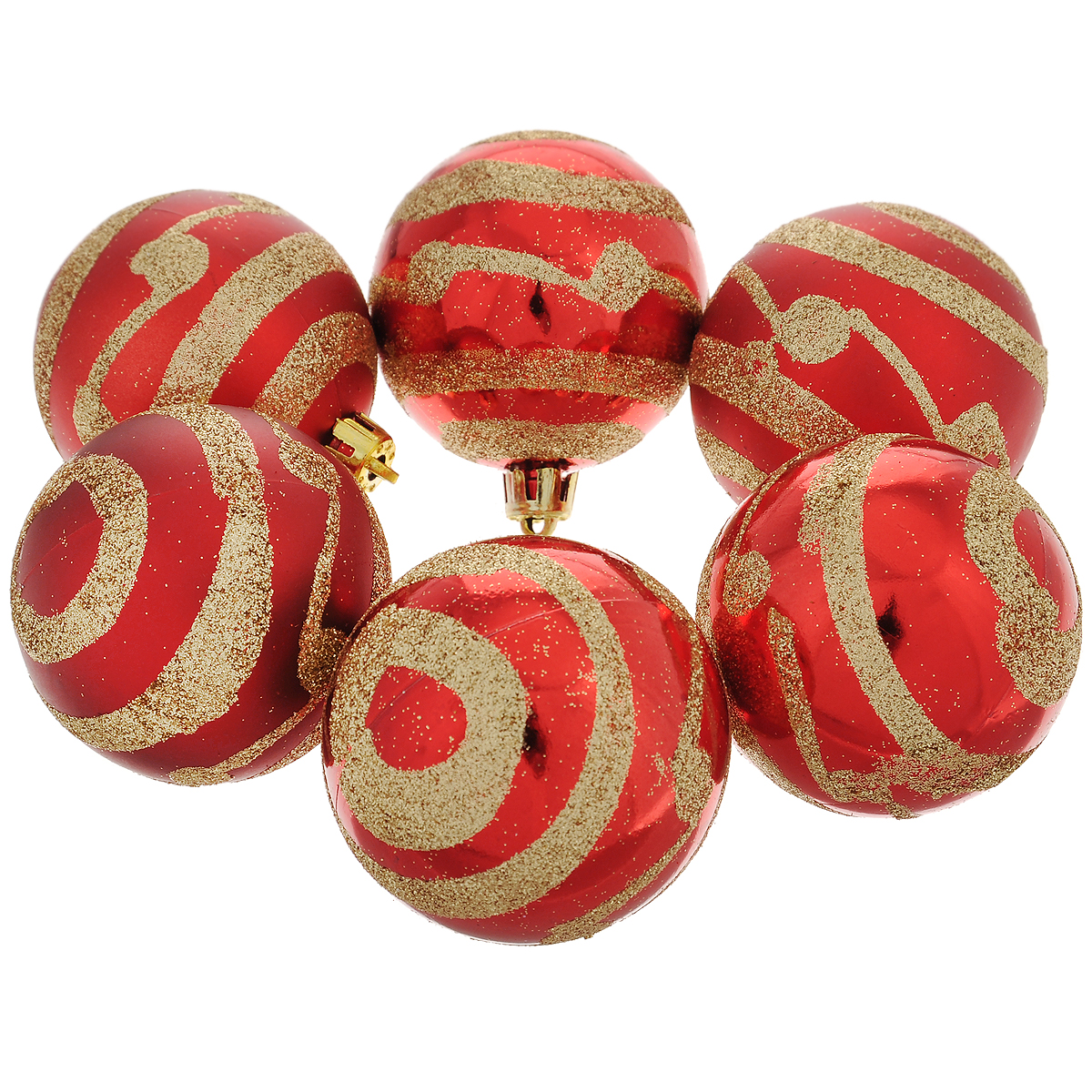 Набор новогодних подвесных украшений Шар, цвет: золотистый, красный, диаметр 6 см, 6 шт. 35497 набор подвесных новогодних украшений шары цвет золотистый красный 6 шт 26270