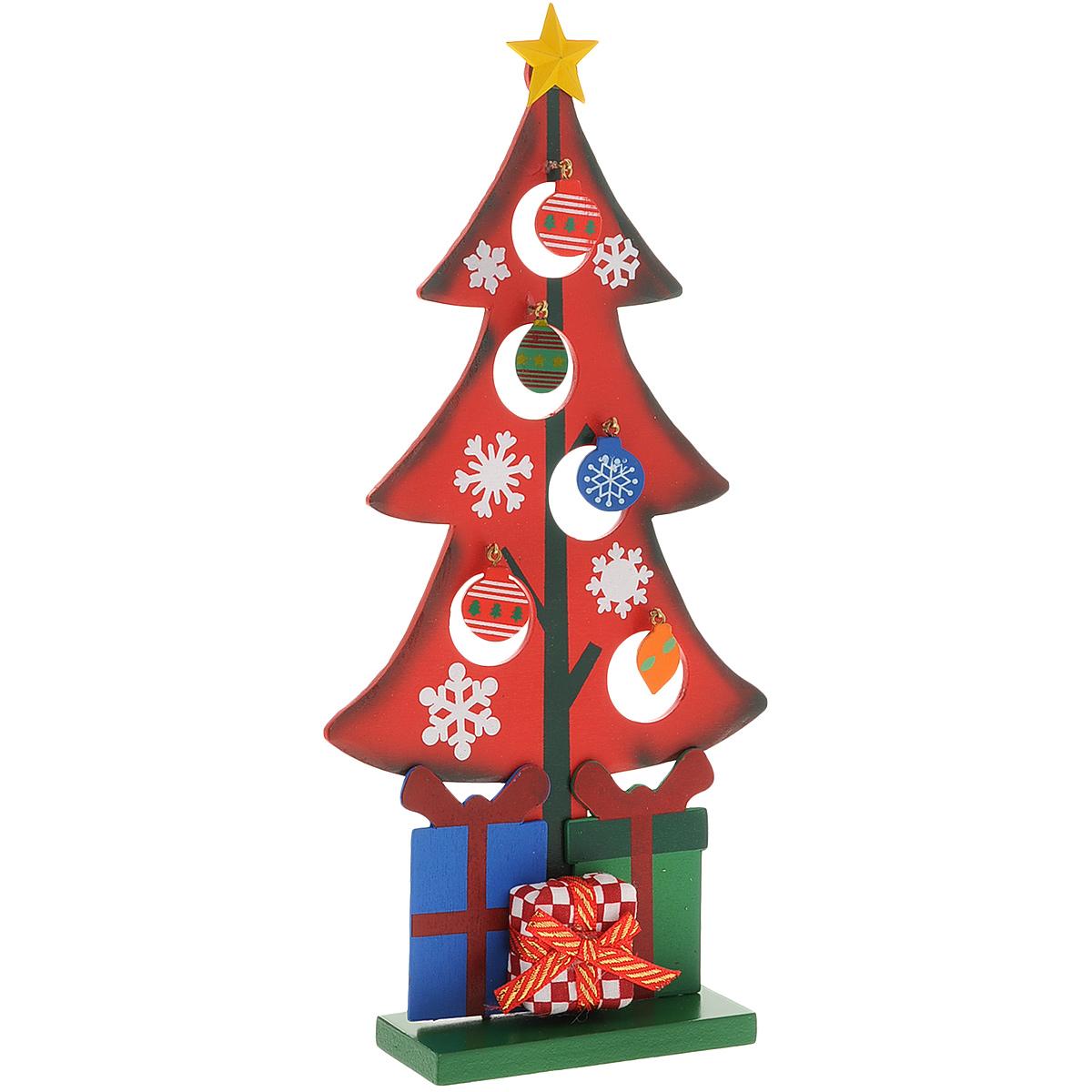 Украшение новогоднее Рождественская елочка, цвет: красный, 28 см. 35265 украшение новогоднее елочка заснеженная цвет красный 14 5 см 35691