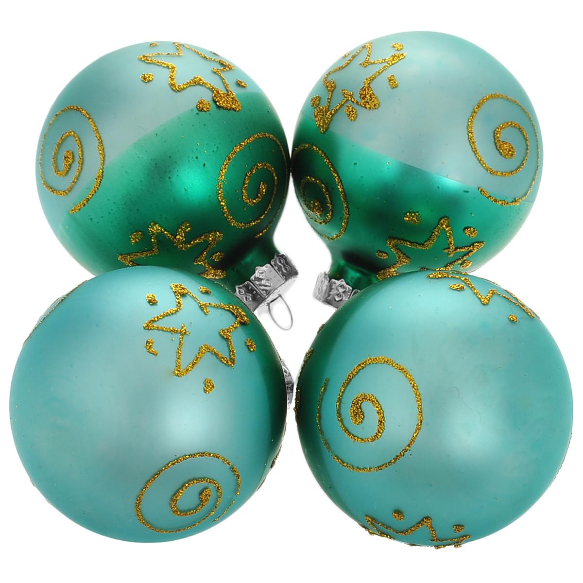 Набор новогодних подвесных украшений Шар, цвет: зеленый, золотистый, диаметр 6 см, 4 шт. 34502 набор новогодних подвесных украшений феникс презент ассорти цвет красный диаметр 6 см 6 шт
