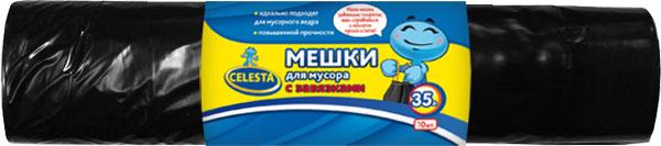 Мешки для мусора Celesta, с завязками, цвет: черный, 35 л, 10 шт мешки для мусора celesta с ушками 60 л 16 шт