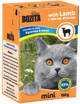 """Консервы для кошек """"Bozita mini"""", мясные кусочки в желе, с мясом ягненка, 190 г"""