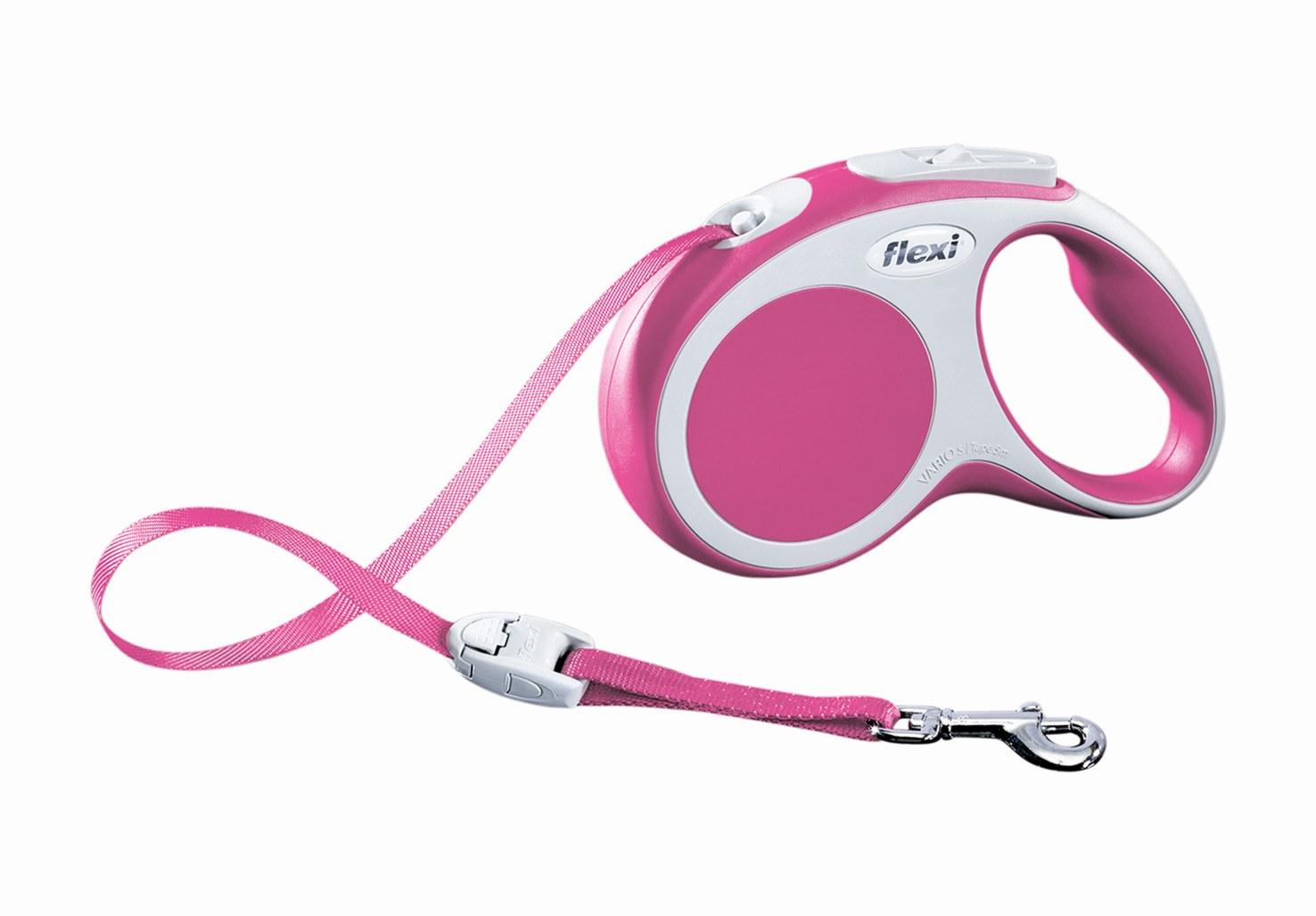 """Поводок-рулетка Flexi """"Vario Compact S"""" для собак до 15 кг, цвет: розовый, 5 м"""