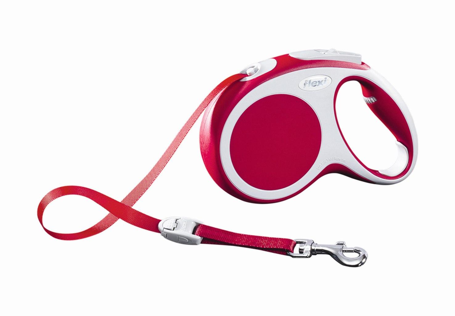 """Поводок-рулетка Flexi """"Vario Compact М"""" для собак до 25 кг, цвет: красный, 5 м"""