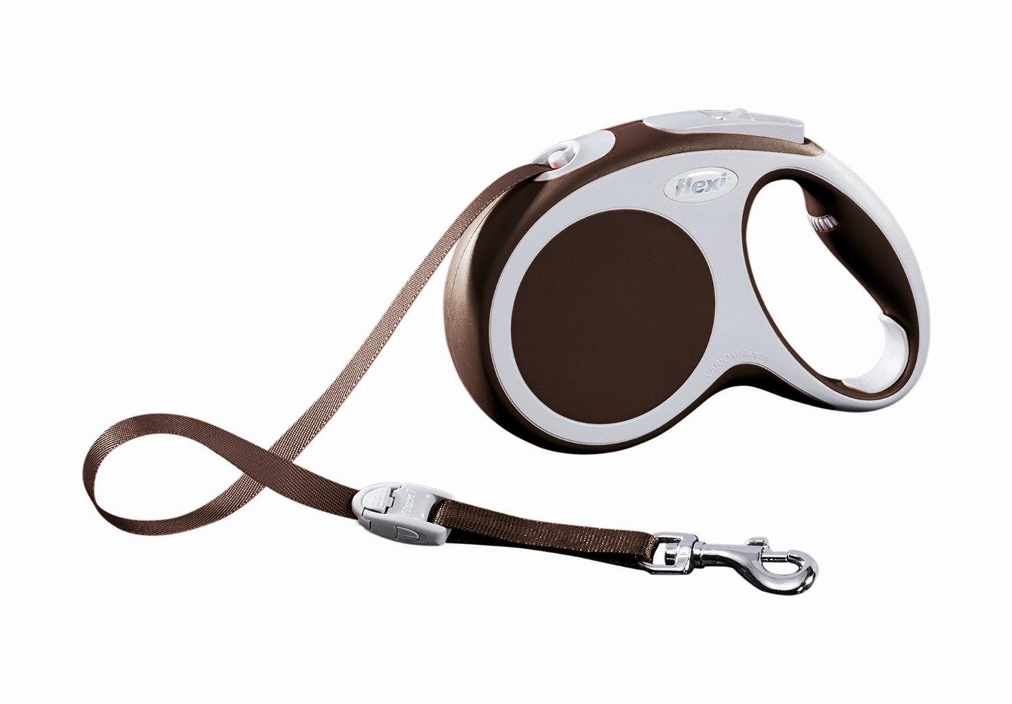 """Поводок-рулетка Flexi """"Vario Compact М"""" для собак до 25 кг, цвет: коричневый, 5 м"""