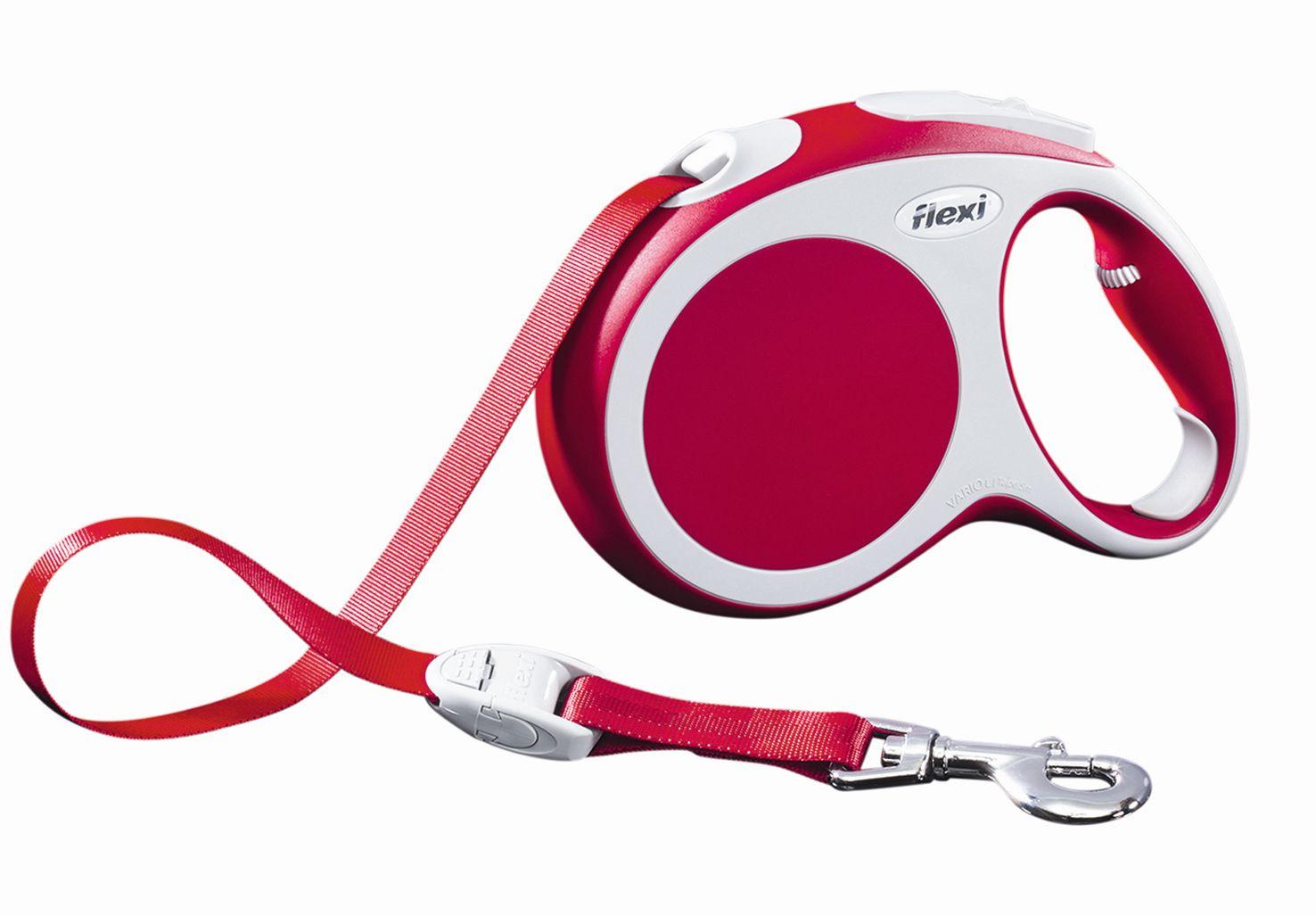 Поводок-рулетка Flexi Vario Compact L для собак до 60 кг, цвет: красный, 5 м поводок рулетка flexi color м для собак до 20 кг цвет черный голубой 5 м