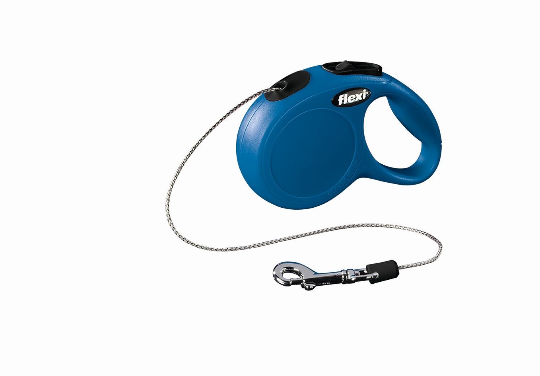 "Поводок-рулетка Flexi ""Classic Basic S"" для собак до 12 кг, цвет: синий, 5 м"