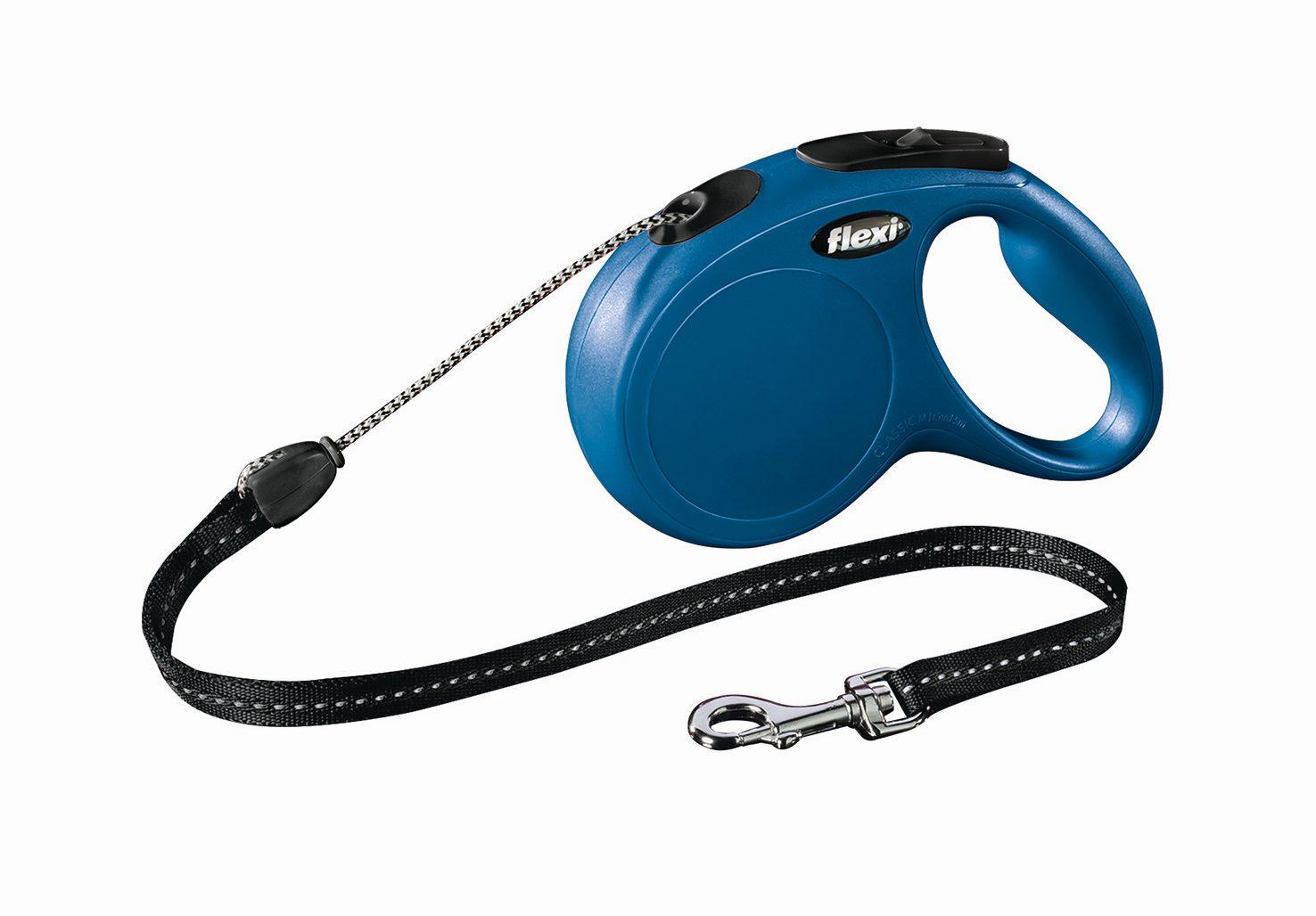 "Поводок-рулетка Flexi ""Classic Basic M"" для собак до 20 кг, цвет: синий, 5 м"