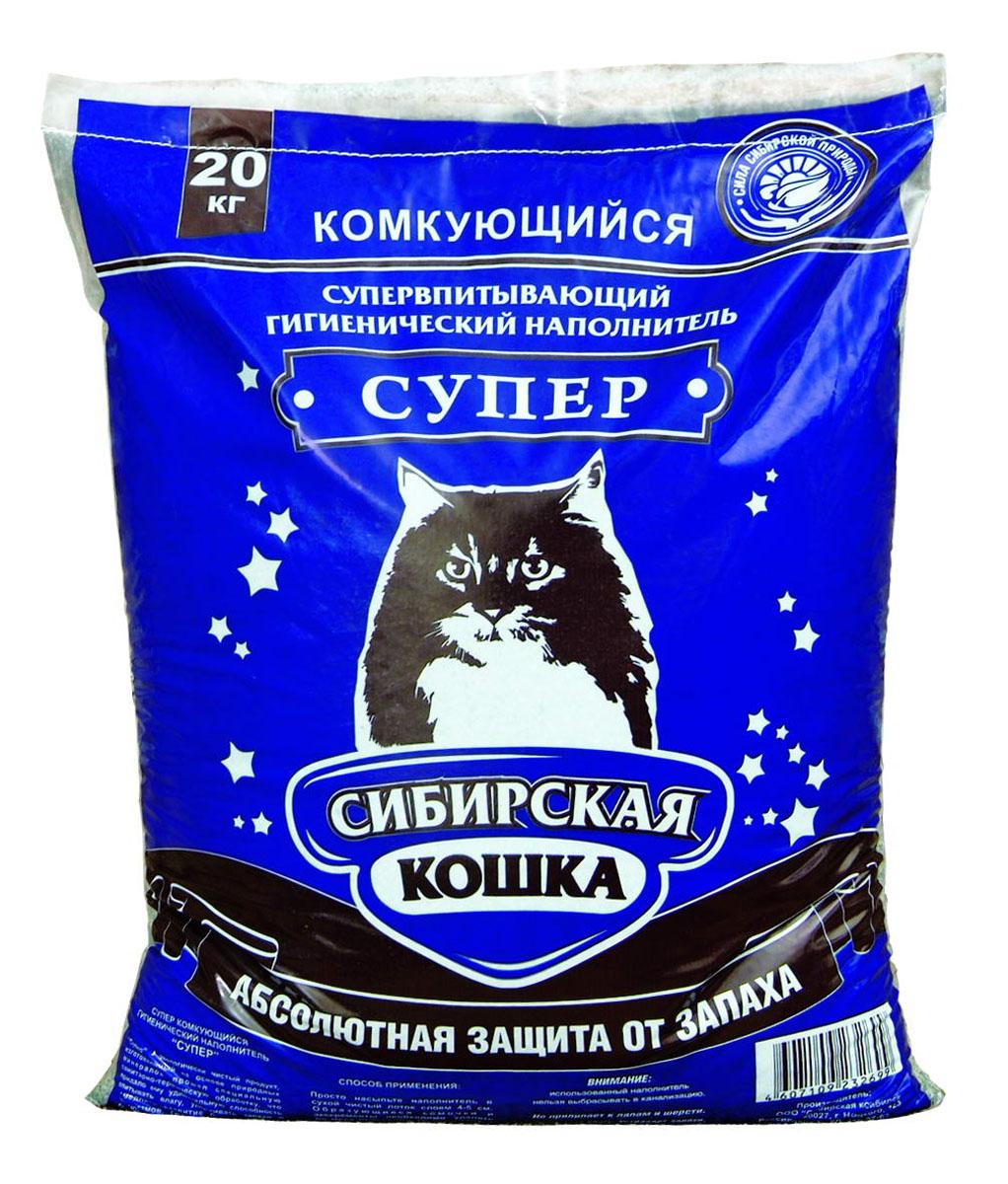Наполнитель для кошачьих туалетов Сибирская Кошка Супер, комкующийся, 20 кг минеральный комкующийся наполнитель сибирская кошка ультра для кошек 3л