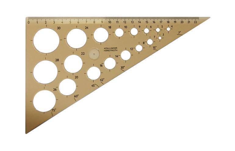 Линейка-треугольник Koh-i-Noor, с шаблонами окружностей, цвет: дымчатый745920Линейка-треугольник Koh-i-Noor на 22,5 сантиметра и углами на 90°, 60° и 30° выполнена из прозрачного пластика дымчатого цвета с ровной четкой миллиметровой шкалой делений. В корпусе линейки находятся шаблоны окружностей диаметром от 3 мм до 30 мм. Характеристики: Размер линейки: 25 см х 14,5 см. Рекомендуем!