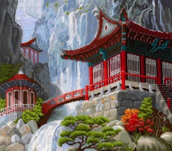 Набор для вышивания крестом Водопад и пагода, 40 см х 35 см. В-12 набор для вышивания крестом сделай своими руками пионы и розы 35 х 44 см