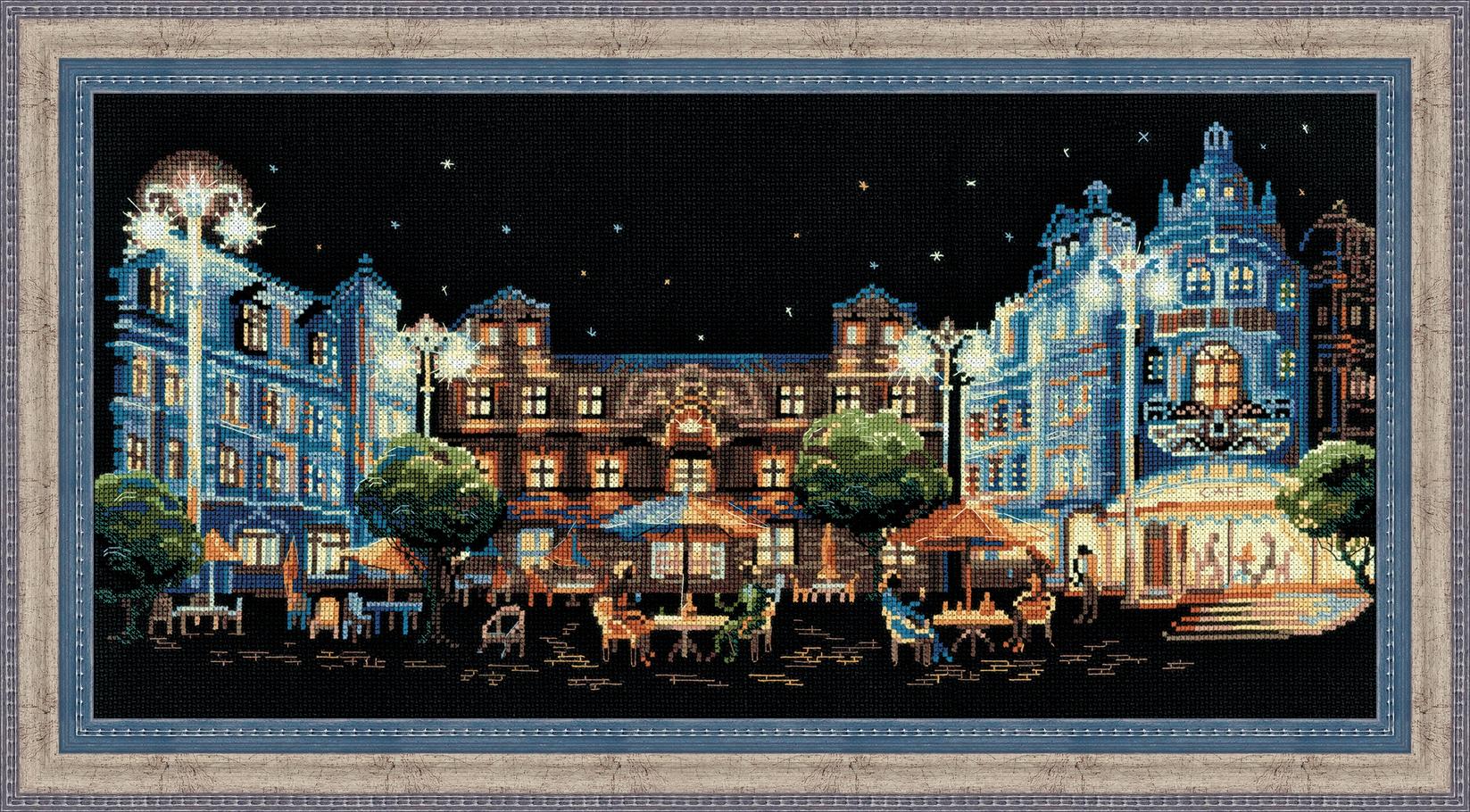 Набор для вышивания крестом Riolis Ночное кафе, 50 см х 25 см набор для вышивания крестом riolis белочки 25 x 25 см 1491