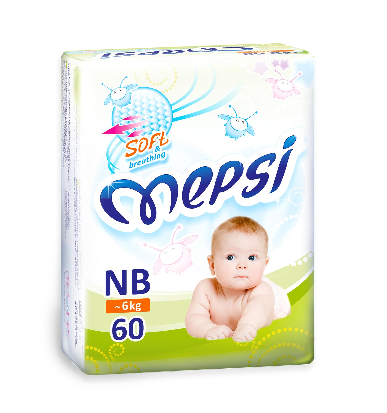 <b>Mepsi Подгузники</b>, <b>NB</b>, <b>до</b> 6кг, 60 шт — купить в интернет ...