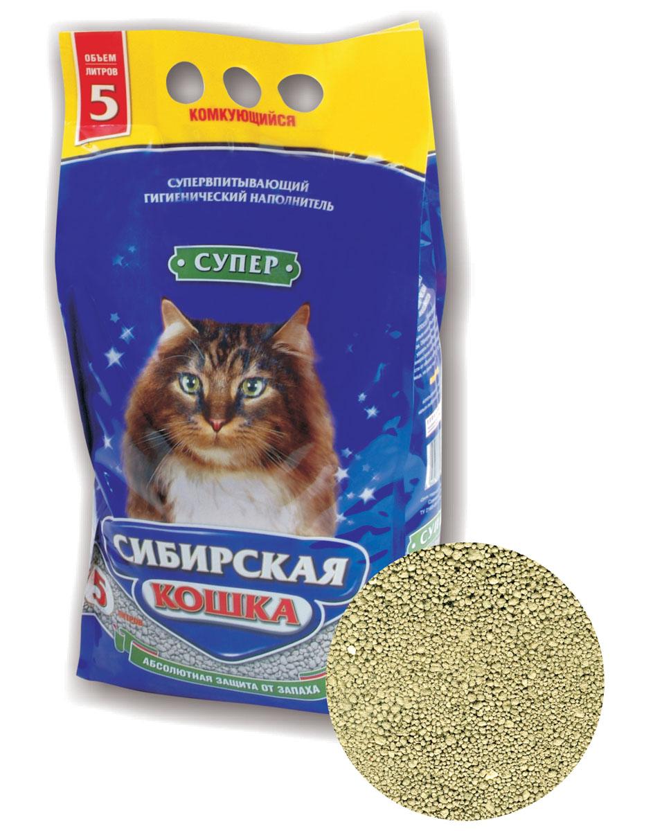 Наполнитель для кошачьих туалетов Сибирская Кошка Супер, комкующийся, 5 л минеральный комкующийся наполнитель сибирская кошка ультра для кошек 3л