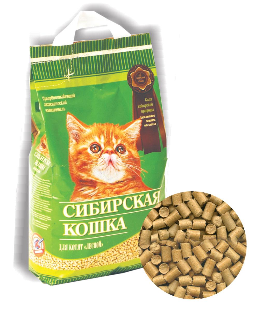 Наполнитель для кошачьих туалетов Сибирская Кошка Лесной для котят, 5 л древесный наполнитель сибирская кошка лесной для кошек 3л