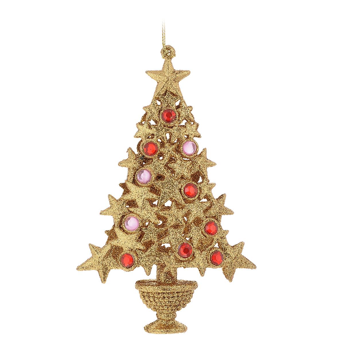 Новогоднее подвесное украшение Елка со стразами, цвет: золотистый, 10 см х 16 см х 3 см новогоднее подвесное украшение лягушка цвет золотистый желтый ф21 1711
