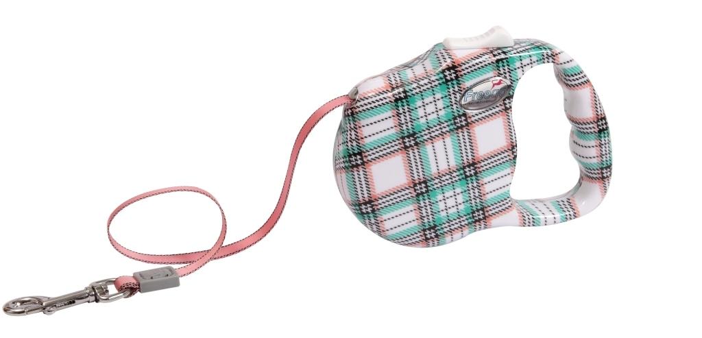 """Поводок-рулетка Freego """"Шотландская клетка"""" для собак до 23 кг, размер M, цвет: белый, зеленый, красный, 3 м"""