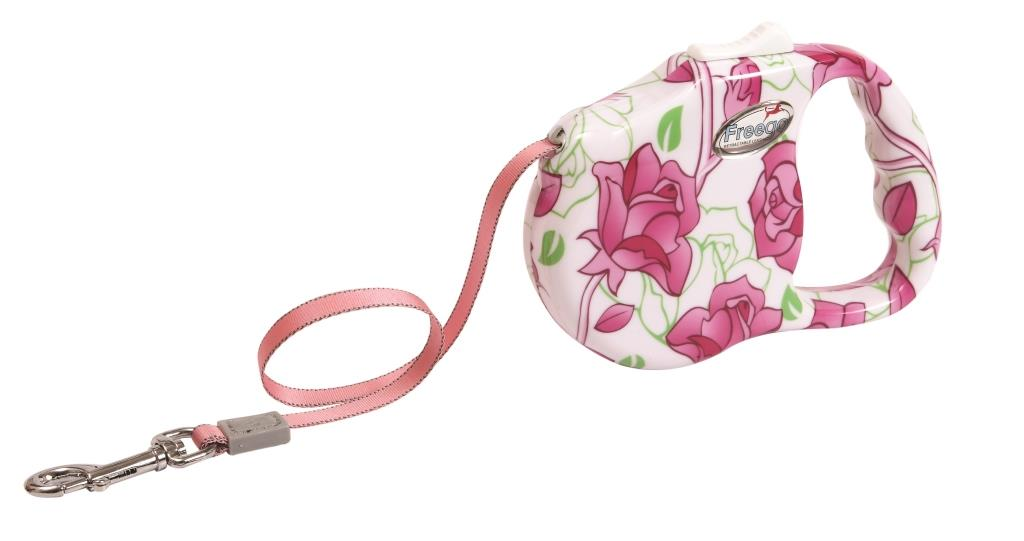 "Поводок-рулетка Freego ""Розовый цветок"" для собак до 23 кг, размер M, цвет: белый, розовый, зеленый, 3 м"