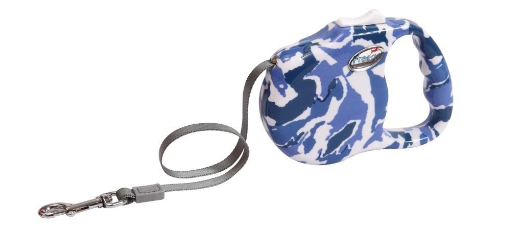 """Поводок-рулетка Freego """"Камуфляж"""" для собак до 23 кг, размер М, цвет: белый, синий, темно-синий, 3 м"""