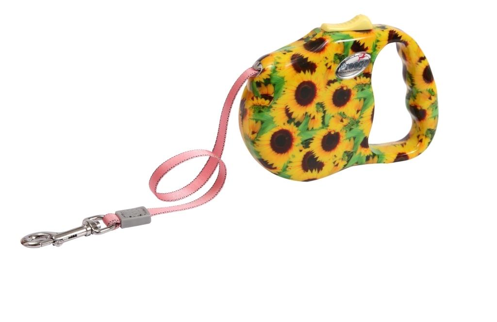 """Поводок-рулетка Freego """"Подсолнух"""" для собак до 12 кг, размер S, цвет: желтый, зеленый, коричневый, 3 м"""