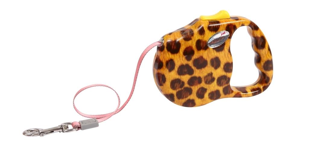 """Поводок-рулетка Freego """"Леопард"""" для собак до 12 кг, размер S, цвет: желтый, коричневый, 3 м"""