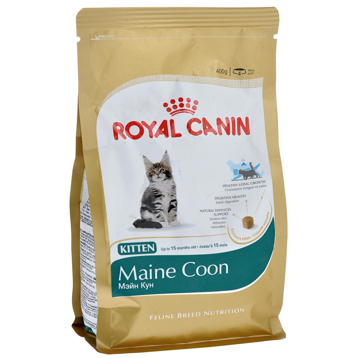 Корм сухой Royal Canin Maine Coon Kitten, для котят породы мейн-кун в возрасте от 3 до 15 месяцев, 400 г корм для кошек взрослых породы мейн кун соус 12х0 085 кг