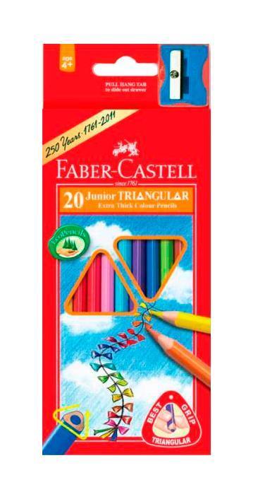 Цветные карандаши JUNIOR GRIP с точилкой, набор цветов, в картонной коробке, 20 шт. карандаши цветные 12 цветов мonster high длинные в металлическом тубксе с точилкой 85046