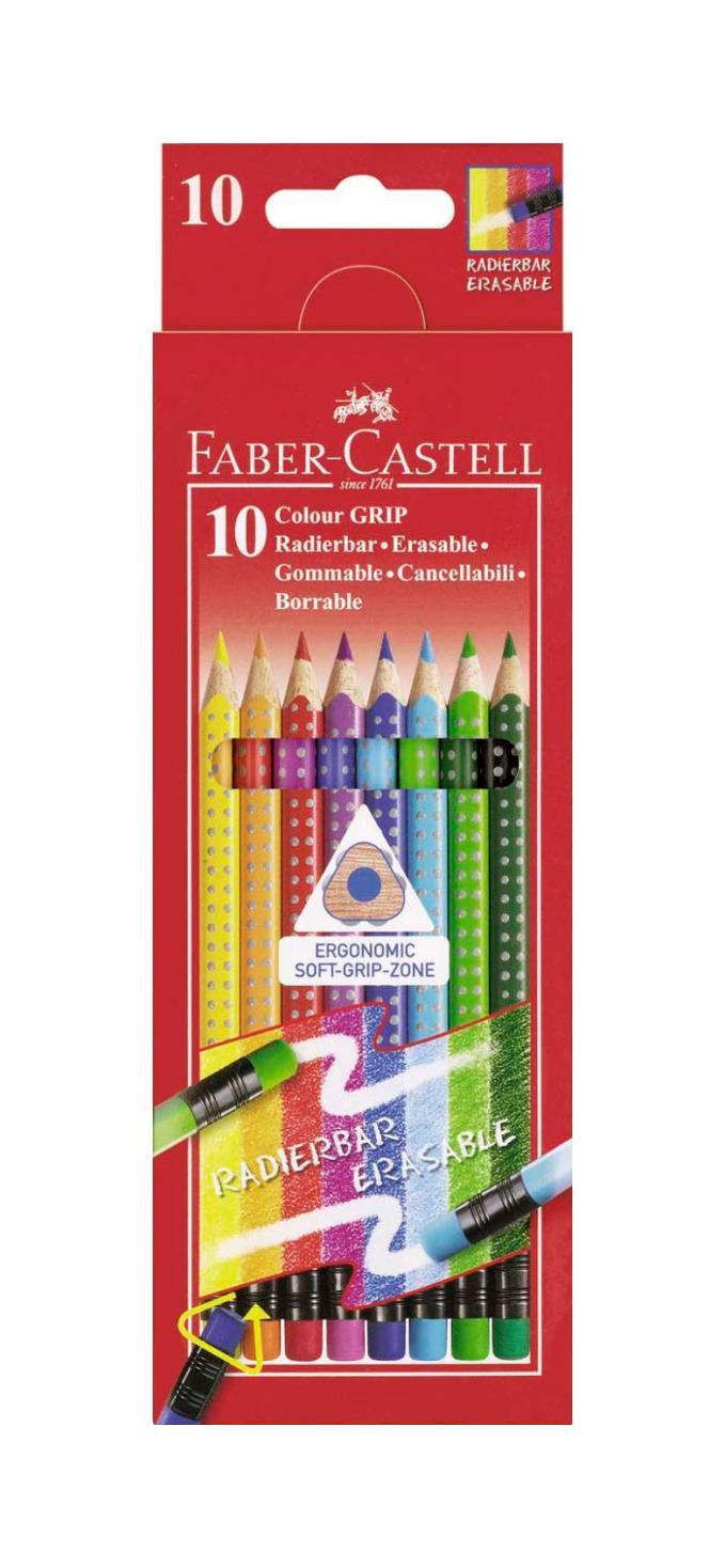 Цветные карандаши GRIP 2001 с ластиками, набор цветов, в картонной коробке, 10 шт. faber castell акварельные карандаши рыбки с кисточкой 36 шт