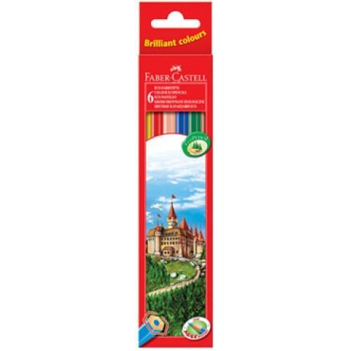 Цветные карандаши ECO ЗАМОК, набор цветов, в картонной коробке, 6 шт. акварельные карандаши colour pencils с кисточкой набор цветов в картонной коробке 12 шт