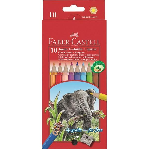 Цветные карандаши JUMBO с точилкой, набор цветов, в картонной коробке, 10 шт. акварельные карандаши colour pencils с кисточкой набор цветов в картонной коробке 24 шт