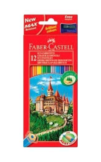 Цветные карандаши ECO ЗАМОК с точилкой, набор цветов, в картонной коробке, 12 шт. карандаши восковые мелки пастель faber castell цветные карандаши замок в картонной коробке 6 шт