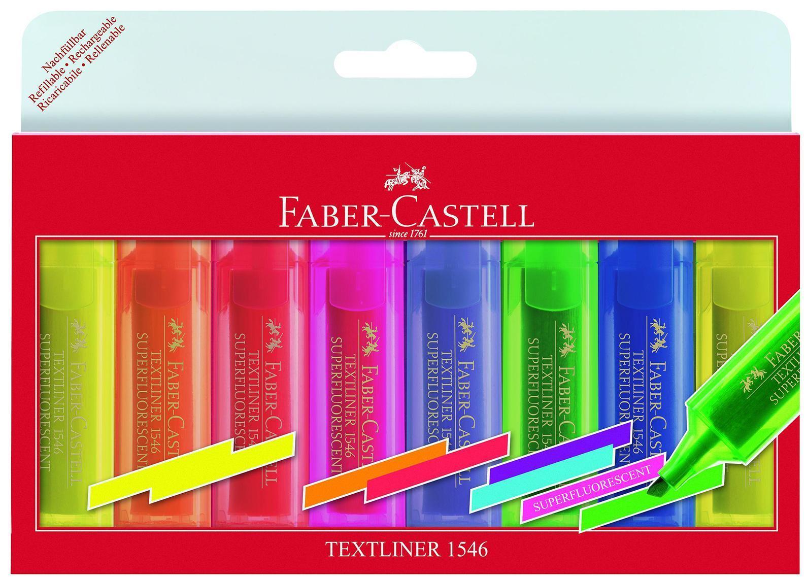 Текстовыделитель 1546, флуоресцентный, набор цветов, в футляре, 8 шт.