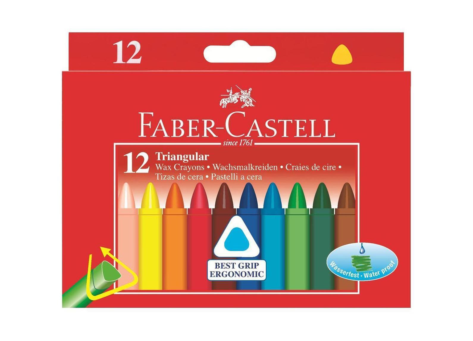 Трехгранные восковые карандаши TRIANGULAR, набор цветов, в картонной коробке, 12 шт. карандаши восковые мелки пастель faber castell карандаши акварельные albrecht durer 24 цвета