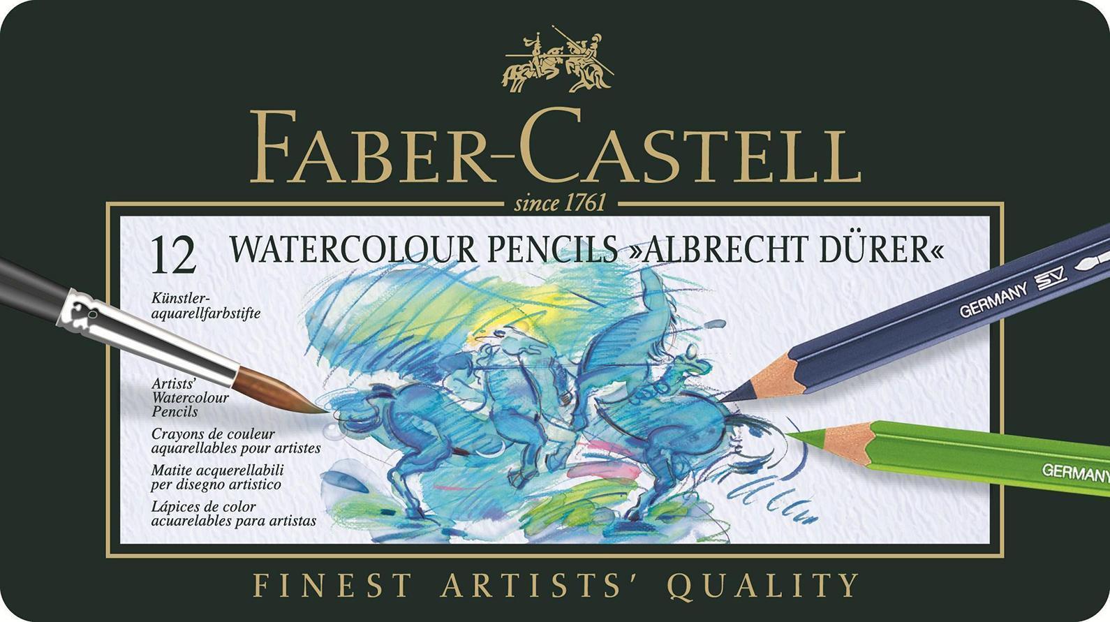Акварельные карандаши ALBRECHT DURER®, набор цветов, в металлической коробке, 12 шт. акварельные карандаши colour pencils с кисточкой набор цветов в картонной коробке 12 шт