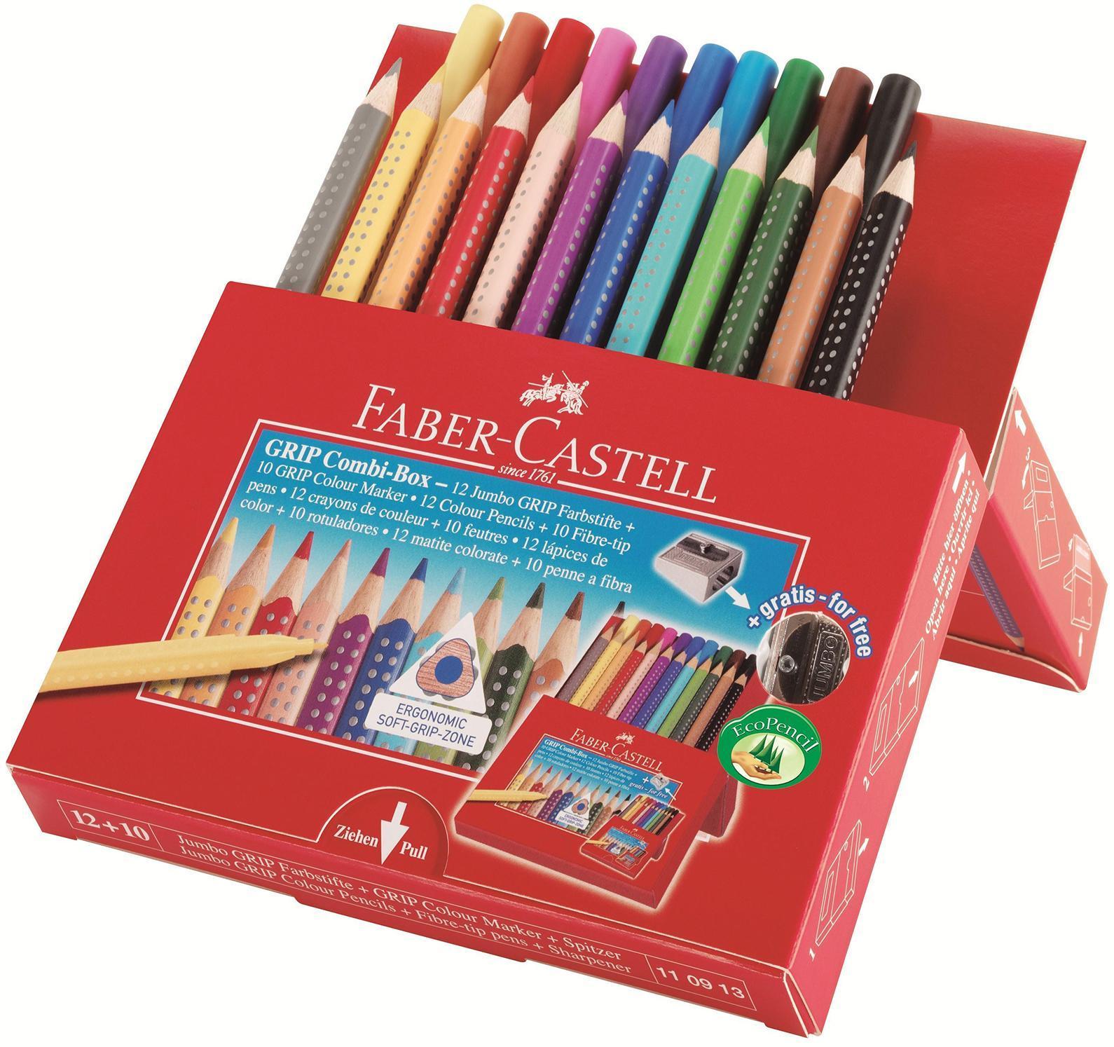 Цветные карандаши Jumbo Grip 12 шт + фломастеры 10 шт и металлическая точилка в картонной коробке карандаши восковые мелки пастель faber castell цветные карандаши замок в картонной коробке 6 шт