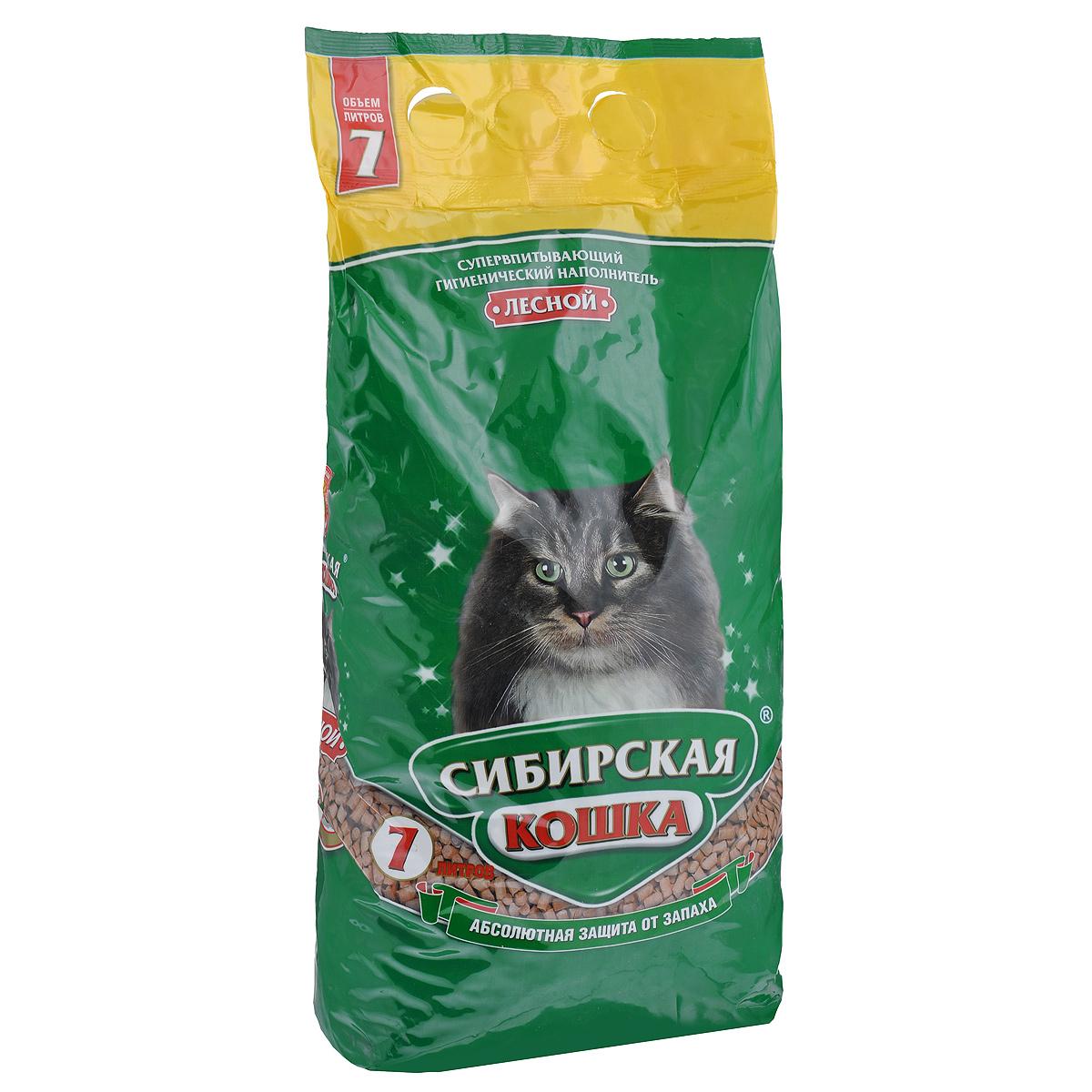 Наполнитель для кошачьих туалетов Сибирская Кошка Лесной, древесный, 7 л древесный наполнитель сибирская кошка лесной для кошек 3л