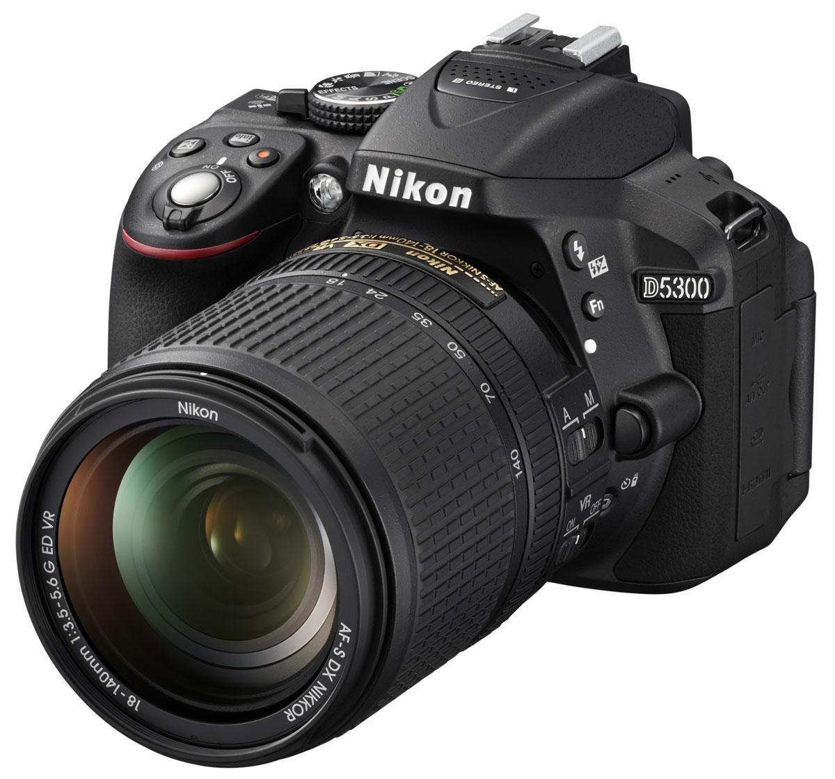 Зеркальный фотоаппарат Nikon D5300 Kit 18-140 VR, Black зеркальный фотоаппарат nikon d7500 af s dx nikkor 18 105vr черный