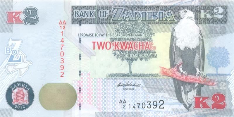 Банкнота номиналом 2 квача. Замбия. 2012 год банкнота номиналом 2 кордоба никарагуа 1972 год