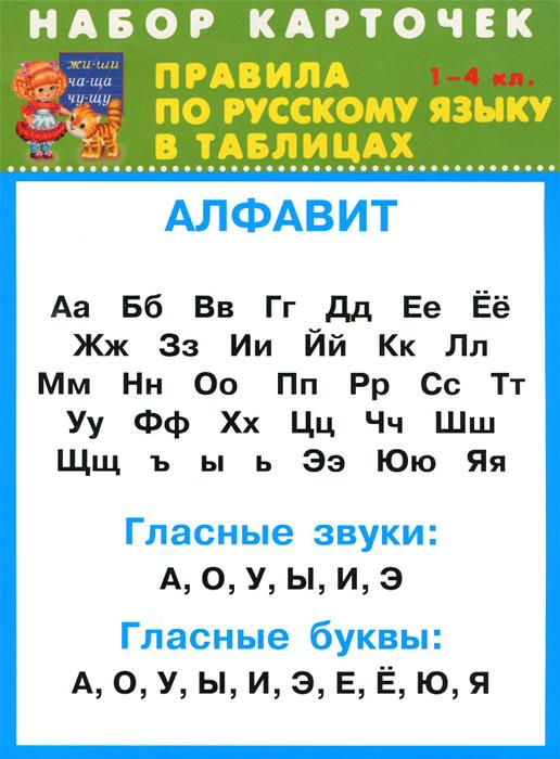 Русский язык. 1-4 классы. Правила в табицах (набор из 32 карточек) правила по математике в таблицах 1 4 классы набор из 28 карточек