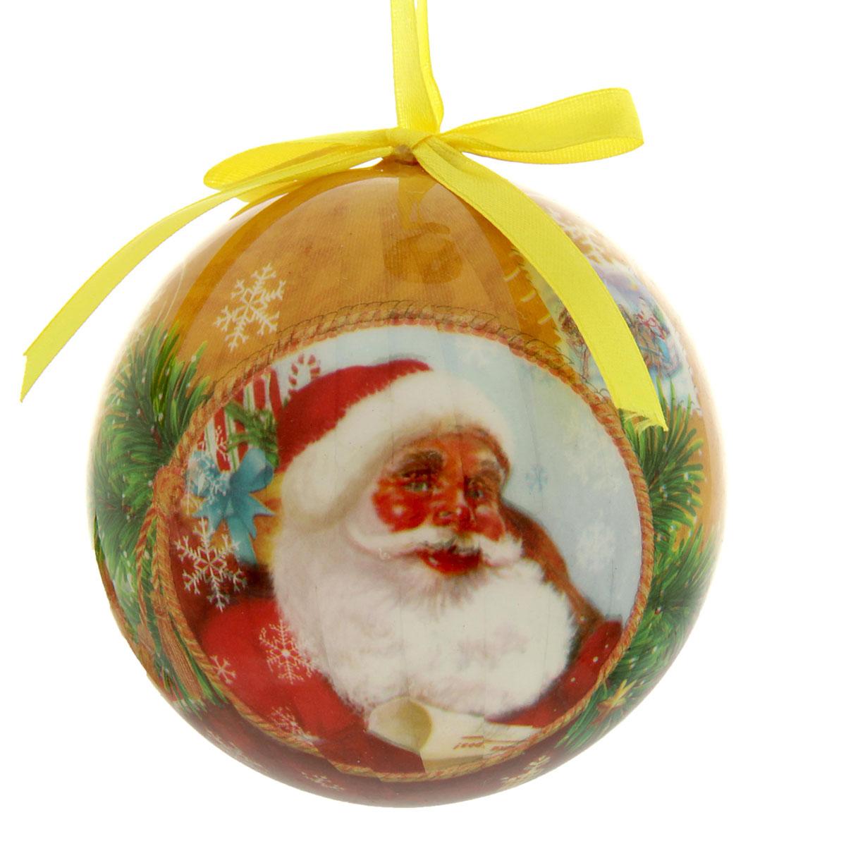 Новогоднее подвесное украшение Sima-land Шар Дед Мороз, диаметр 10 см. 279357