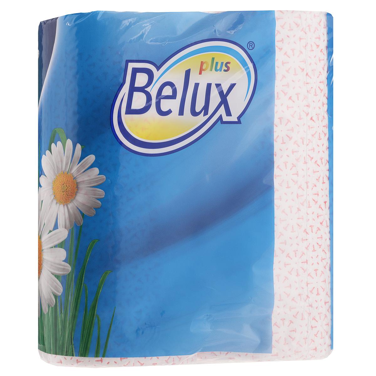 Полотенца кухонные бумажные Belux, двухслойные, цвет: белый, розовый, 2 рулона полотенца кухонные belux 200 шт